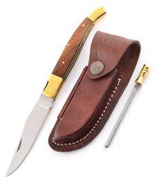Set - nůž Laguiole dřevo, kožené pouzdro a ocílka