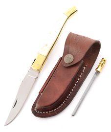 Set - nůž Laguiole velbloudí kost, kožené pouzdro a ocílka