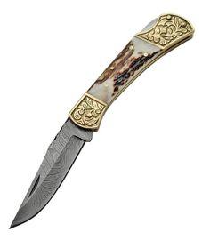 Damascus Stag Engraved Bolster