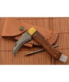 Exkluzivní houbařský nůž damaškový ručně dělaný se záštitou 2