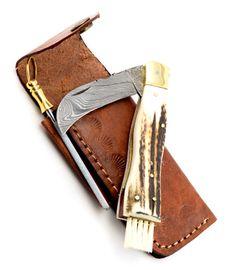 Exkluzivní houbařský nůž damaškový s jelením parohem ručně dělaný