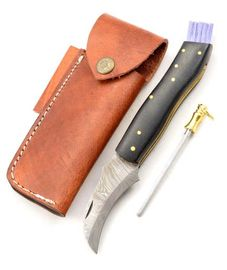 Exkluzivní houbařský nůž damaškový micarta black ručně dělaný