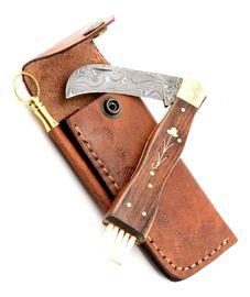 Exkluzivní houbařský nůž damaškový ručně dělaný se záštitou
