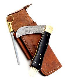 Exkluzivní houbařský nůž damaškový s buvolím rohem ručně dělaný se záštitou