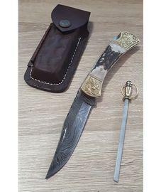 Set Damascus Stag Engraved Bolster kožené pouzdro a ocílka